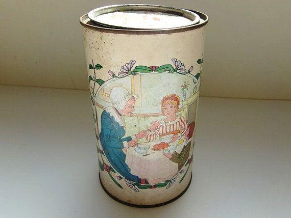Francese d'epoca RICORE scatola di latta metallo colazione arredamento caffè zucchero casella turno casella