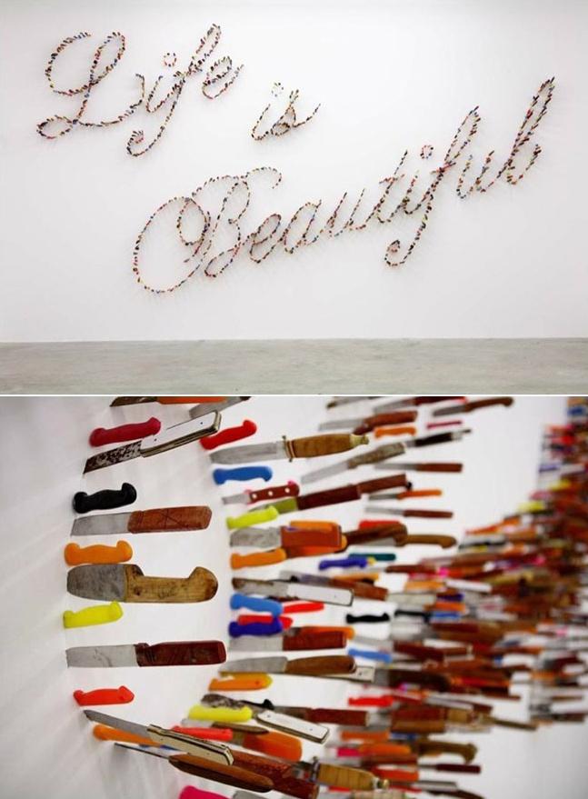 Knife Typography ~ Farhad Moshiri's installation ~ Life is Beautiful