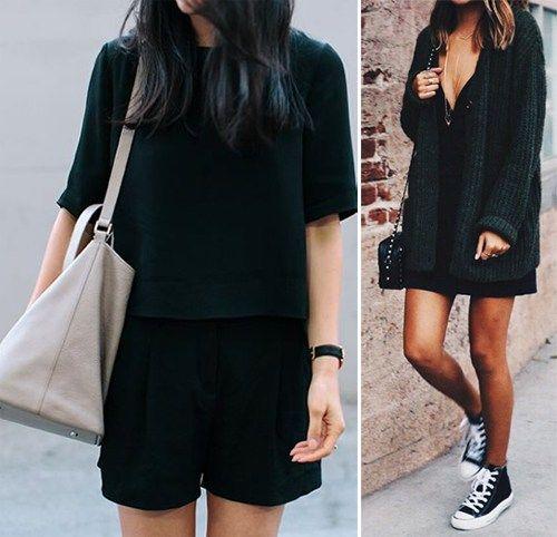 Черные шорты в сочетании с топом