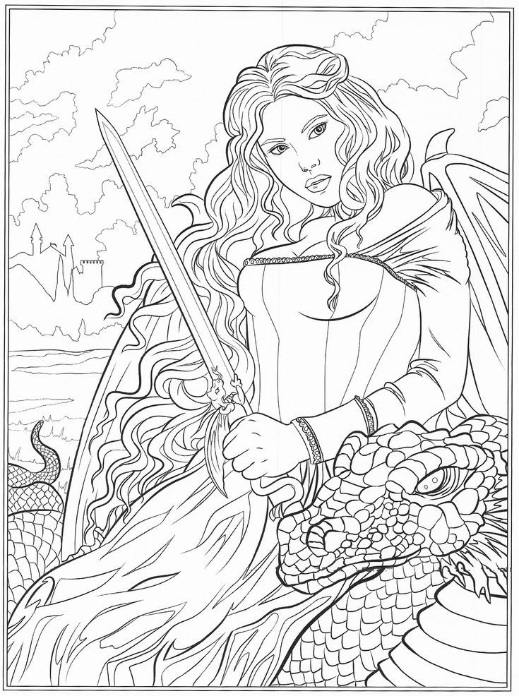 731 best Fantasy Coloring Pages for Adults images on Pinterest