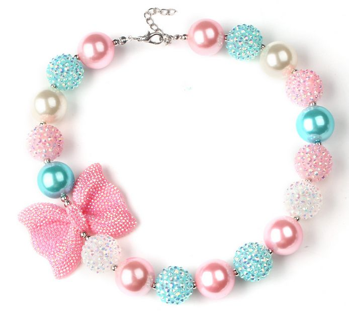 2016 New Gorgeous Pink Bow Knot Cheer Girl Love Princess Chunky Necklace Bubblegum Kids Jewelry Fancy Dress Outfit Gift SafeWXN1 //Price: $US $4.90 & FREE Shipping //     #hashtag4