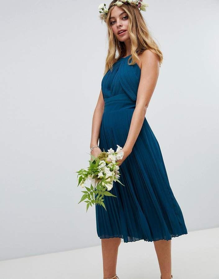 6412b89fc92 TFNC Petite pleated bridesmaids midi dress in petrol blue  pleated  bridesmaids TFNC