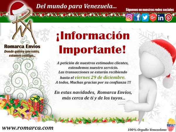 ¡¡NOS VAMOS!! A partir del 1 de enero del 2018 hasta el 1 de febrero del 2018 todo el equipo de ROMARCA ENVIOS, salimos de VACACIONES COLECTIVAS. Recibiremos transacciones hasta el 29 de Diciembre.  #Venezuela #Informacion #Clientes  #VenezolanosEnElMundo #VenezolanosEnElExterior #VenezolanosEnPanama #VenezolanosEnChile #OrgulloVenezolano #VenezolanosEnEspaña