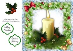 Beautiful Cream Candles With Holly 8x8 on Craftsuprint - View Now!