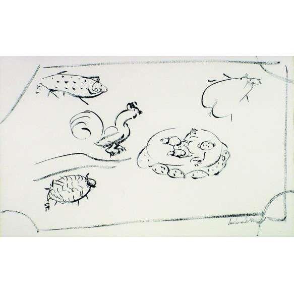 Amilcar de Castro<br>Animais – 36 x 57 cm – Nanquim – Ass. CID