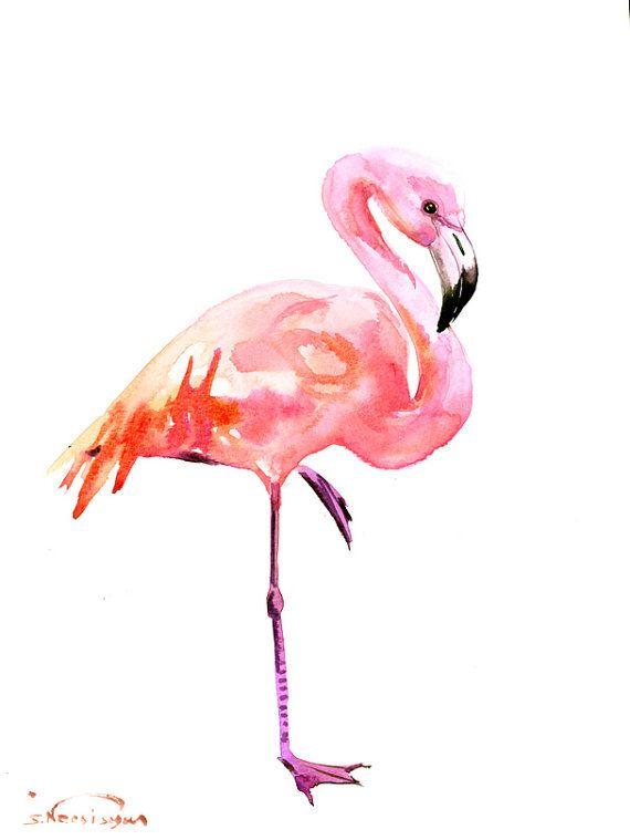 Flamingo Art, Original watercolor painting, 14 x 11 in, flamingo lover art, flamingo painting, pink flamingos