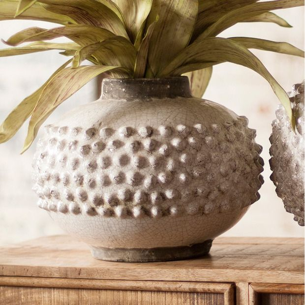 Could you glue on shaped clay & paint w/crackle paint to recreate this $90 Short Pebbly Vase?
