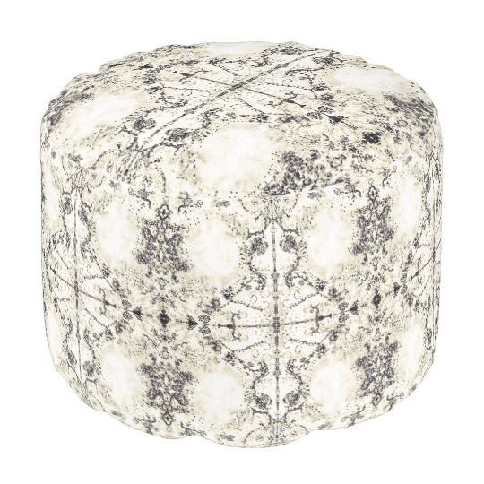 French Country Vintage Champagne Mosaic by Deprise Pouf