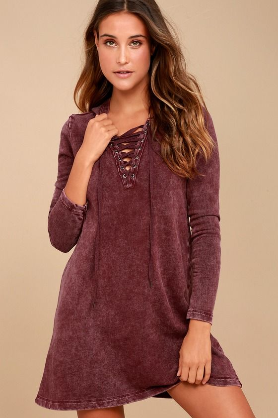 3af0cff1663e The Others Follow Andie Washed Burgundy Lace-Up Sweater Dress is cozy and  cute to boot! Terry knit composes this hooded sweater dress with a trendy,  ...