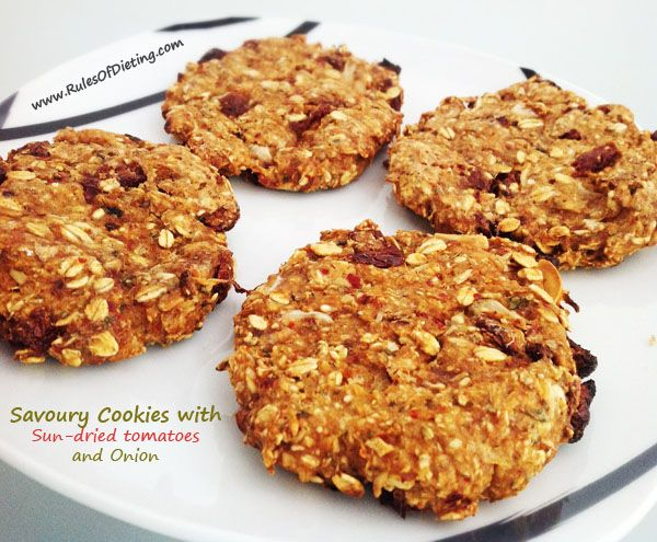 Savoury Cookies with Sun-dried tomatoes and Onion. Dairy, gluten, egg, soy, nut free - Rules of Dieting