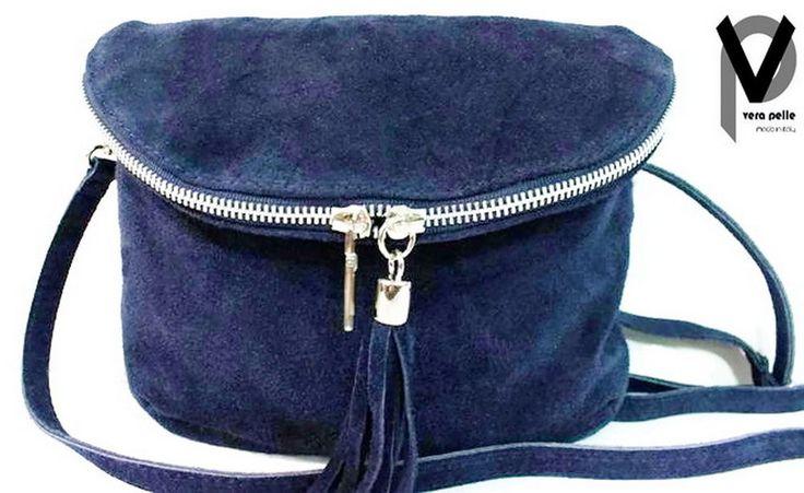 Vera Pelle Schultertasche 22cm Leder Handtasche Fransen Blau Braun Schwarz Taupe