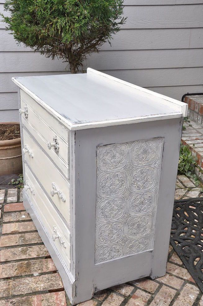 Hometalk :: Dumpster to Rustic Diva Dresser/ How to Use Wallpaper on Furniture