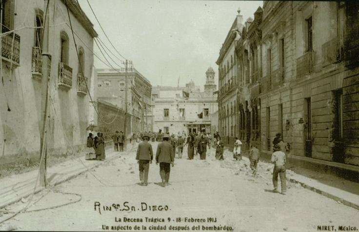 La antigua Calle de Balderas conocida como Rinconada de San Diego durante la decena tragica
