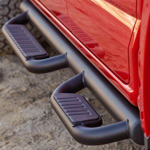 2016 #Silverado 1500 #CrewCab Assist Steps, #Off-Road, Black: Enhance the rugged, off-road looks of your Silverado with 3-Inch Off-Road Step Bars. Tubular construction with textured, traction-gripping step surfaces offers sure footing for entering or exiting. The black powder coat finish adds great style and excellent corrosion protection.