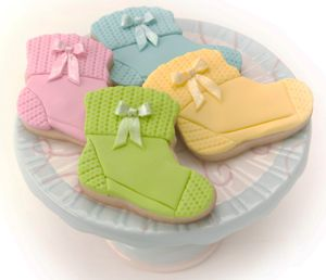 Baby Bootie Sock Cookies, I think this would be a cute idea too with Christmas colors