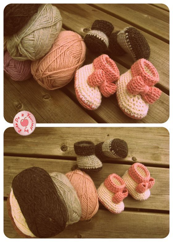 Crochet Baby Booties. Free Pattern. Thank you Ruta