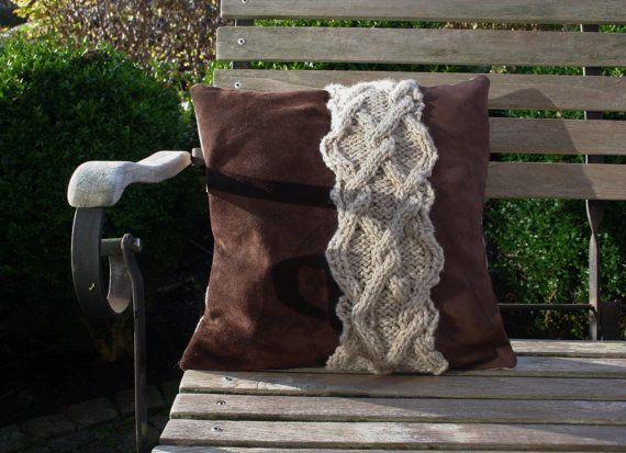 Leather/nubuck/woolen cushion lederen/nubuck/wollen kussen