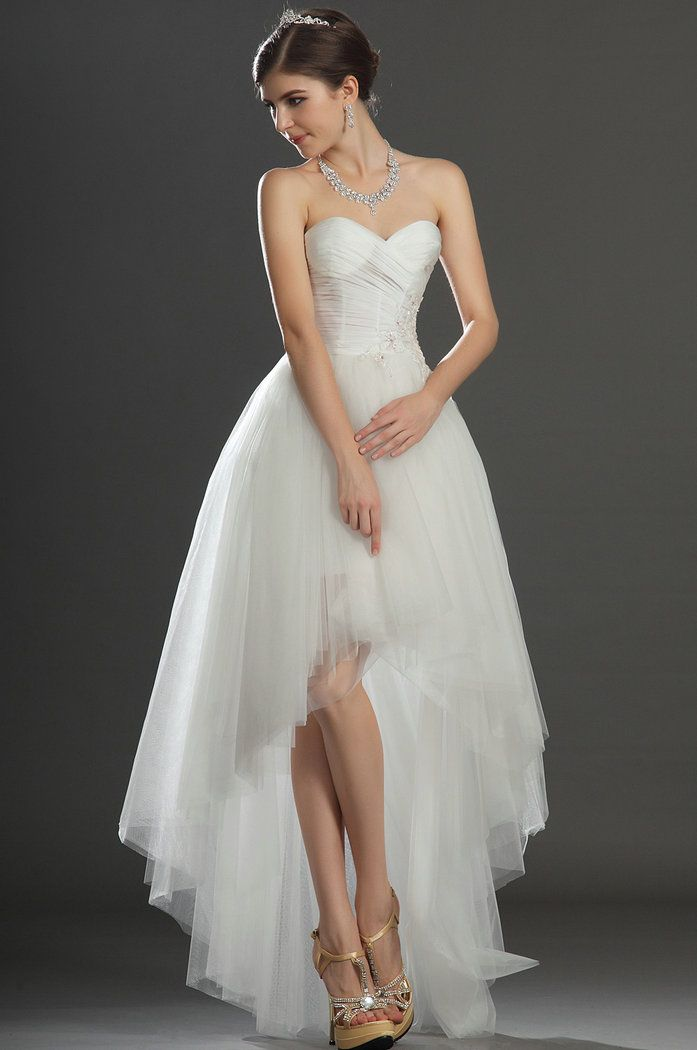 hi low wedding dresses | Tulle Applique High Low Ivory Wedding Dresses 2013