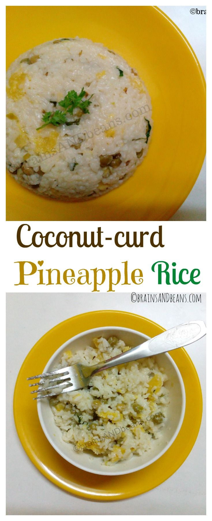 It's a curd rice but not the curd you think. Creamy and lusty rice made with pineapple, green peas and coriander leaves.