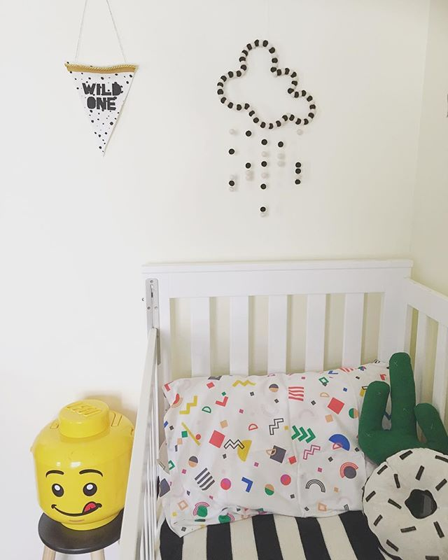 Sack Me pillowcase. My little echo cactus cushion Struckla and peach donut pillow lego storage kmart stool stef collections cloud mobile captain and co Wild One banner ikea blanket monochrome room eclectic kids bedroom