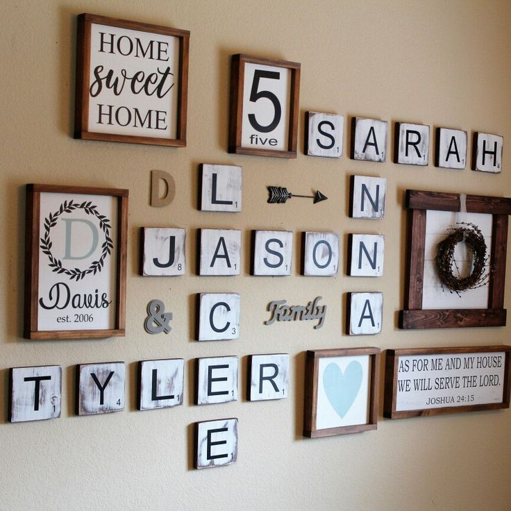 Finally finished a Farmhouse Scrabble Tile Gallery Wall for our own home! Love how it turned out!