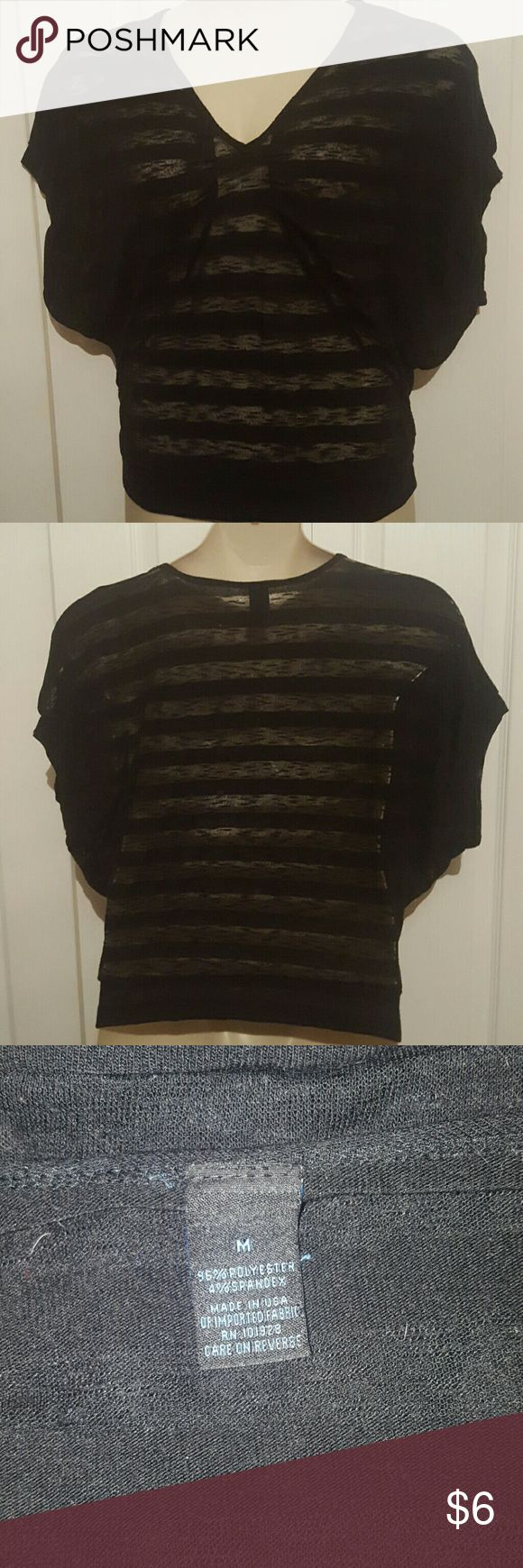 Sheer striped batwing top Black stretch Tops Blouses