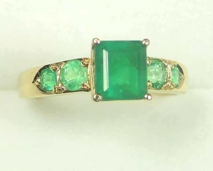 Colombian Emerald Engagement Ring 1.27 Ct Muzo 18K Gold Size 7 US Fine Jewelry  #CeCi #SolitairewithAccents #Engagementoreverydaywear