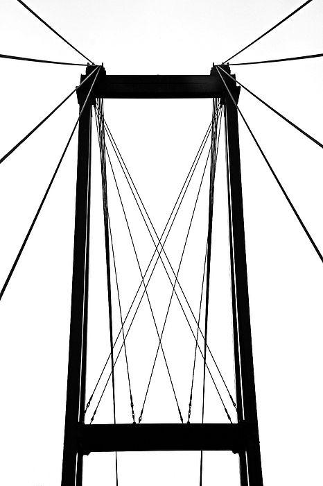 Cable Bridge Abstract - French River Ontario Canada #bridge #pattern #art #photography #blackandwhite