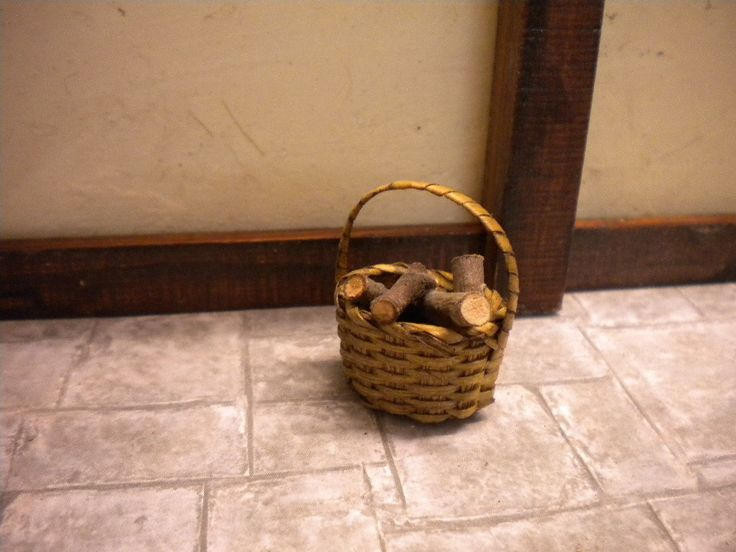 Dolls House Fireplace Log Basket with by FirecraftMiniatures