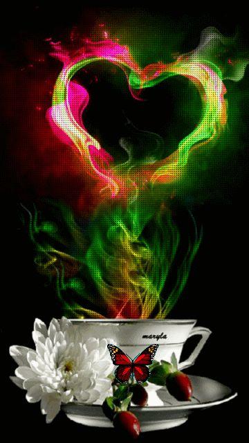 открытка чашка любви