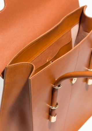 & Other Stories image 2 of Premium Leather Tote Bag in Camel