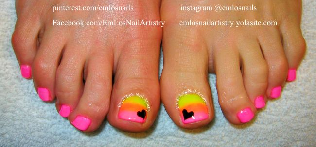 CND Shellac ~ Shellac Toes ~ Ombre Nails ~ Neon Ombre ~ Nail Art ~ Pedicure ~ Summer www.facebook.com/EmLosNailArtistry www.emlosnailartistry.yolasite.com