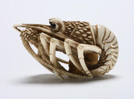 Netsuke ebi (crayfish) with inlaid eyes