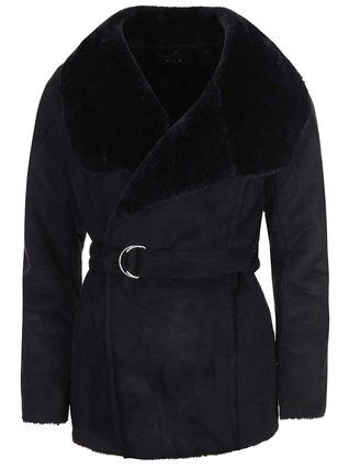 VILA - Černý kratší kabát s umělým kožíškem  Aviate - 1