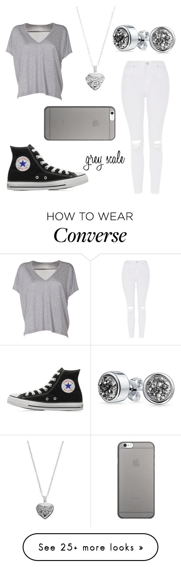 """""""grey scale"""" by brikid on Polyvore featuring Topshop, Acne Studios, Converse, Bling Jewelry, Silver Expressions by LArocks and Native Union"""