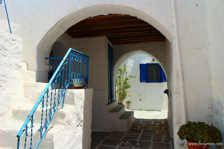Somebody`s back yard in Kimolos Chora - village with traditional houses and a fortress - Kimolos