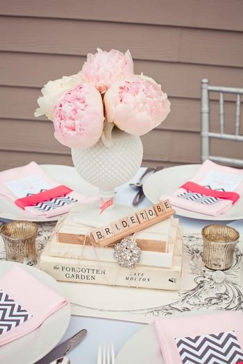 Bridal Shower ideas- Love the Scrabble letter decoration on the table!