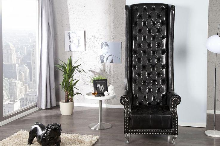 IiNTERIOR Royal Fotel Czarny Skóra Ekologiczna - i21400