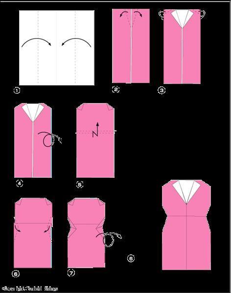 Оригами из бумаги схемы платье