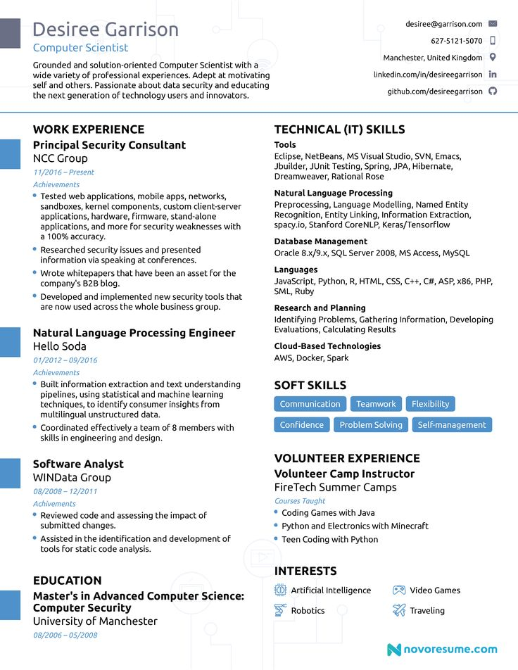 Computer Science Computer skills resume, Professional