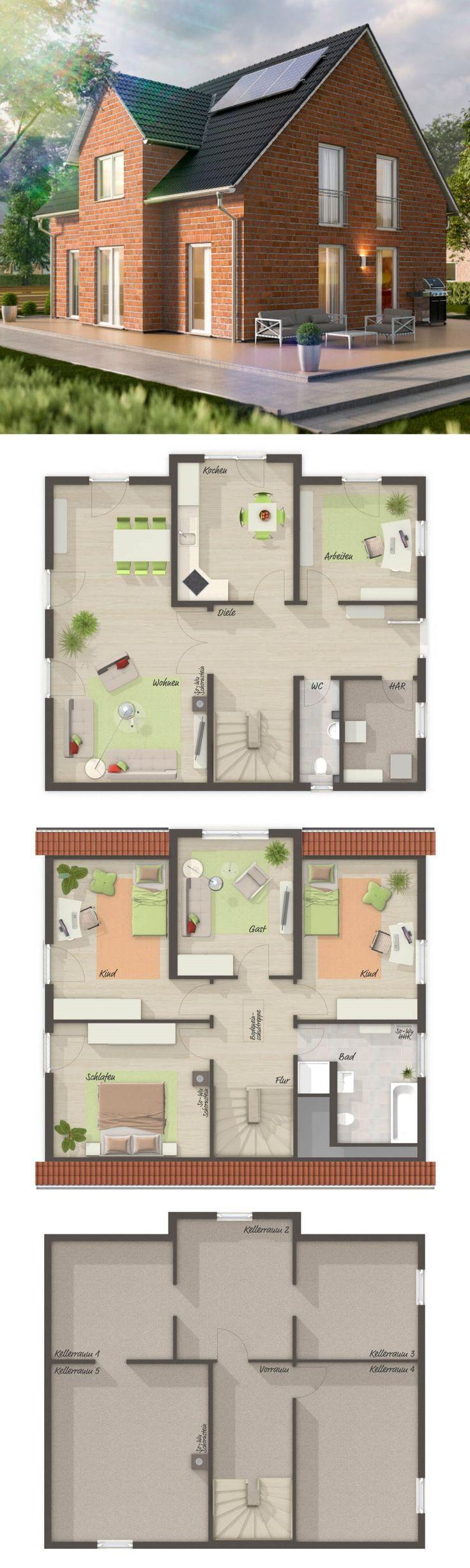 Einfamilienhaus Neubau im Landhausstil Grundriss mit Klinker fassförmig, Zwerchgieb…