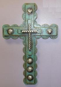 Turquoise Silver Conchos Western Style Wall Cross | eBay