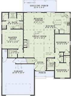 Small Plan: 1,572 Square Feet, 3 Bedrooms, 2 Bathrooms - 110-00965