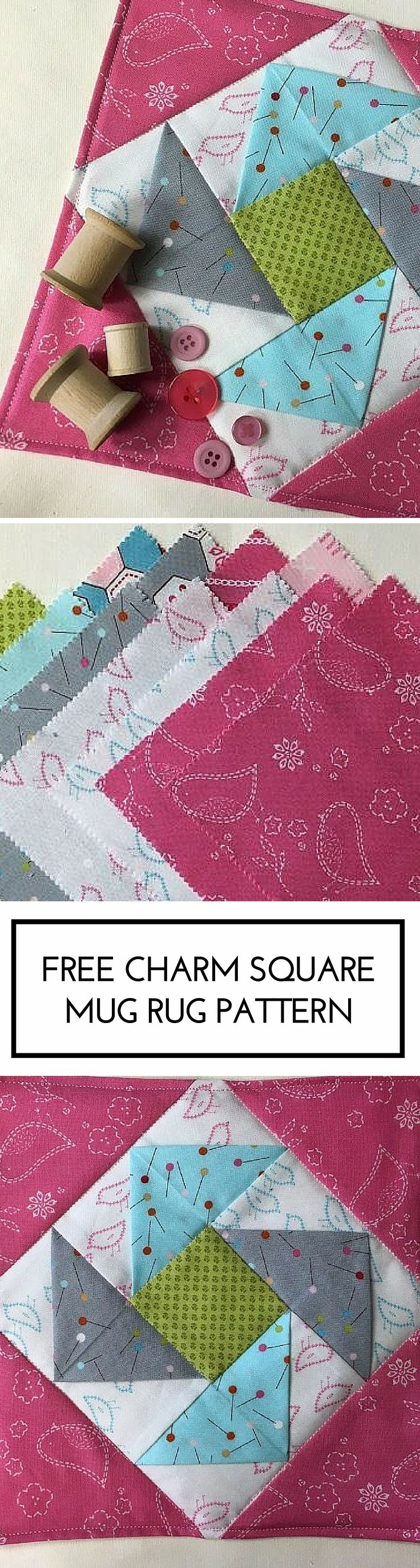 Free and simple charm square mug rug pattern for quilters
