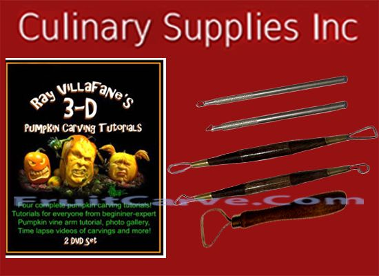 Ray Villafane Tutorial DVD & Pumpkin Carve Tools Set: Culinary Supplies Inc-USA specializing in fruit carving knives, Garde Manger Tools, Books, DVD's and foods! Find us at CulinarySupplies.Org and FruitCarve.Com