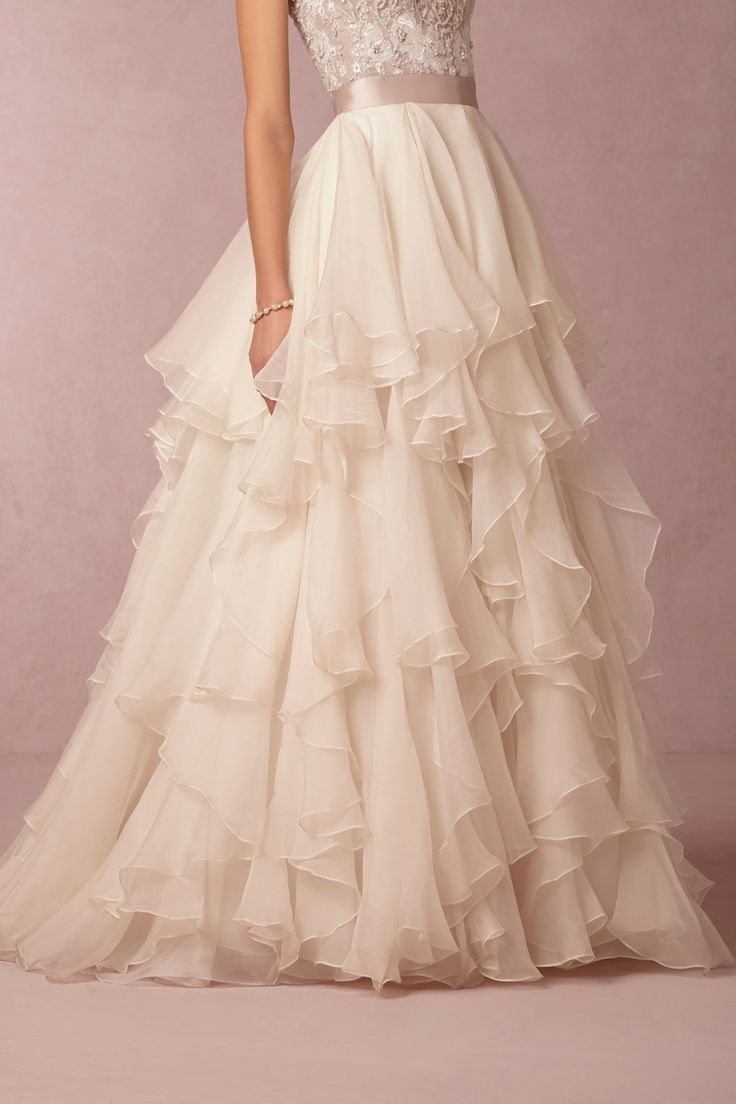 Unique Gorgeous Ruffled Wedding Skirt from BHLDN ruffled wedding dresses are a hot wedding trend for