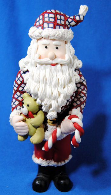 Santa Claus Figurine Tall Plaid Coat Unusual Holiday Decoration Candy Cane Bear