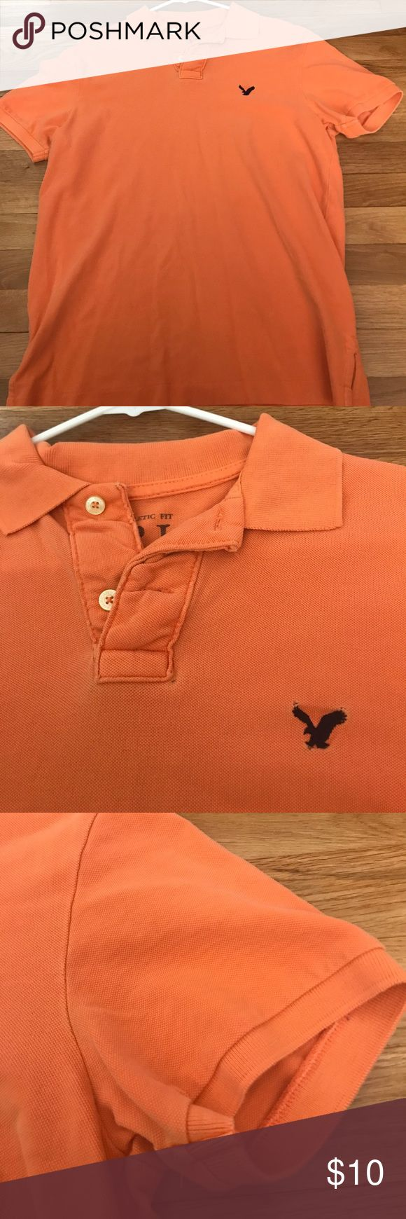 👑 AE Athletic Fit Polo ⭐️ SALE No flaws noted. Smoke free. 100% Cotton. Coloring is basic orange with navy blue logo.   ⭐️ SALE! PICK 3 POLOS FOR $22! American Eagle Outfitters Shirts Polos