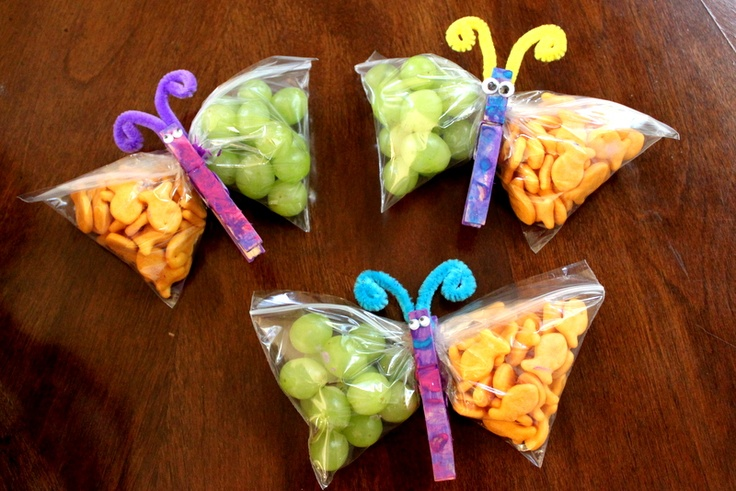 Butterfly snacks (so cute):   -Clothspins, -Snack size ziplock bags, -Googly eyes, -Pipe cleaners  -Glue, -Paint, glitter glue, puffy paint, and -Snacks (goldfish)