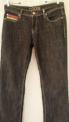 "COOGI Ladies Multi Colored Pocket Embroidered  Denim Pants Size 7/8 (32""/32"") LR"